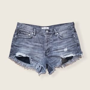 We The Free Gray Denim Cutoff Shorts Distressed 28